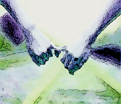 pastel image recolored to purples and greens with a sketch-like black outline effect adding shadows