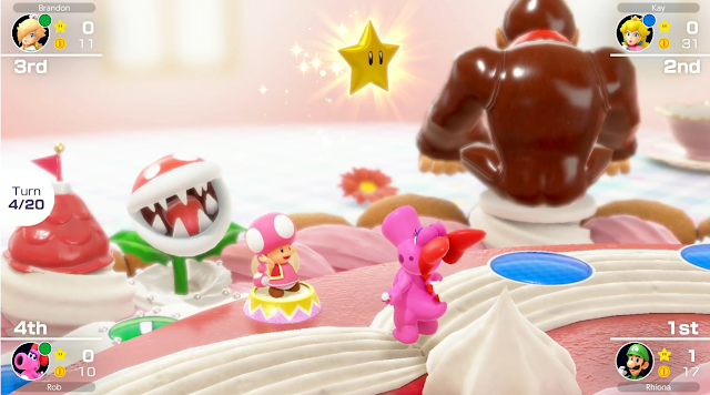 Mario Party Superstars Toadette gives star to Birdo Peach's Birthday Cake Donkey Kong decoration ass Nintendo Treehouse Live E3 2021