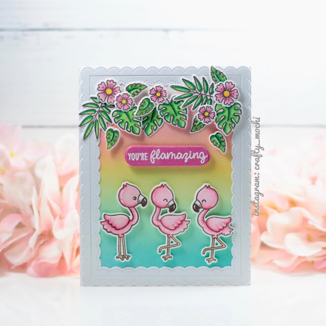 Sunny Studio Stamps: Fabulous Flamingos Customer Card by Gladys