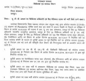 urgent require of paramedical staff on contract basis rajasthan
