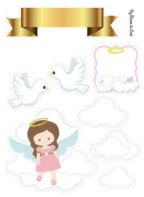 Angelita en las Nubes: Toppers para Pasteles o Tartas de Primera Comunión para Imprimir Gratis.