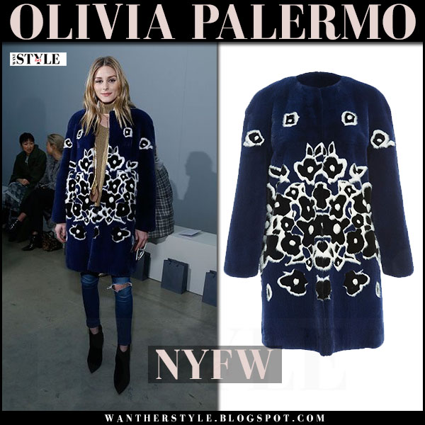 Olivia Palermo in blue floral intarsia fur coat front row nyfw what she wore 2'17