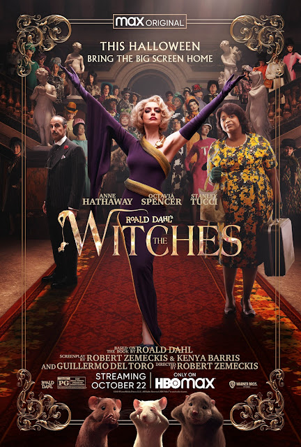 "Movie poster for the HBO Max original film ""The Witches,"" starring Anne Hathaway, Octavia Spencer, and Stanley Tucci"