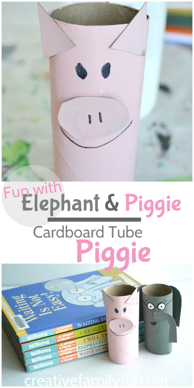 Are your kids Elephant and Piggie fans! They'll love making their own cardboard tube Piggie to use as a ready buddy or to act out the books.