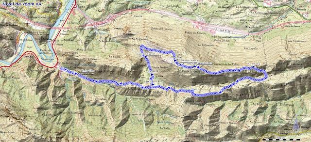 Mapa de la ruta al Jorovitaya y Pico Bacia desde Santianes
