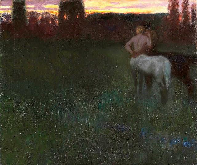 a Franz Von Stuck painting of cetaur lovers watching a sunset or sunrise