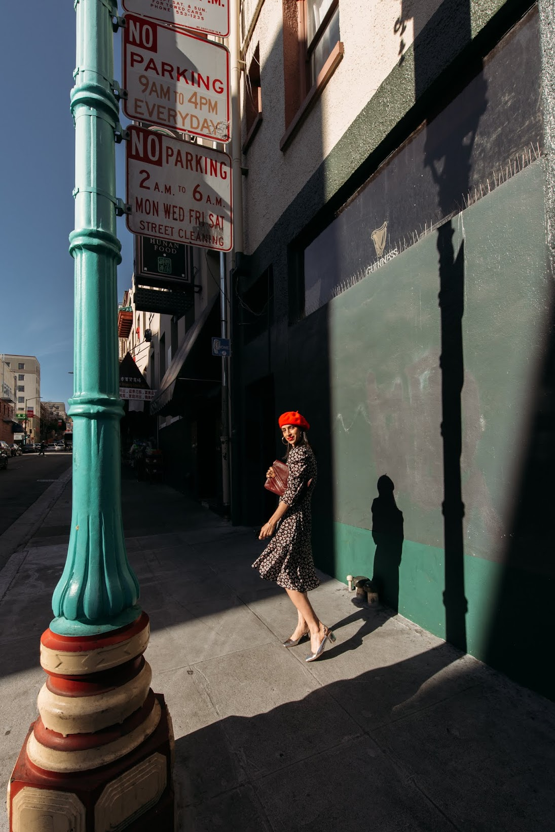 Bailey 44, Chinatown, San Francisco, French girl style, beret style, silver heels, spring style