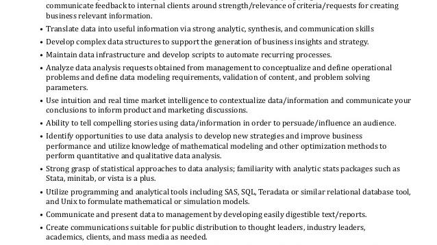Data Analysis - Data Analytics Job Description - Jobs