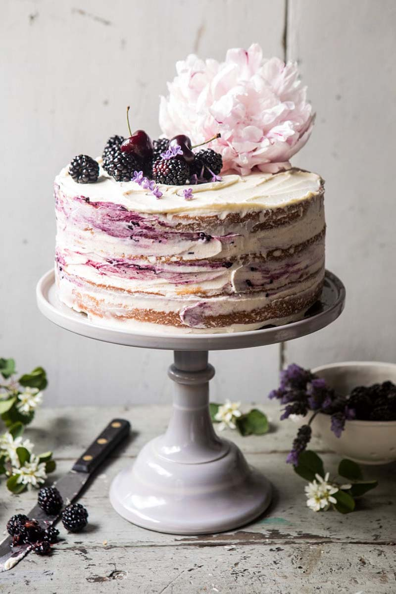 Blackberry Lavender Naked Cake