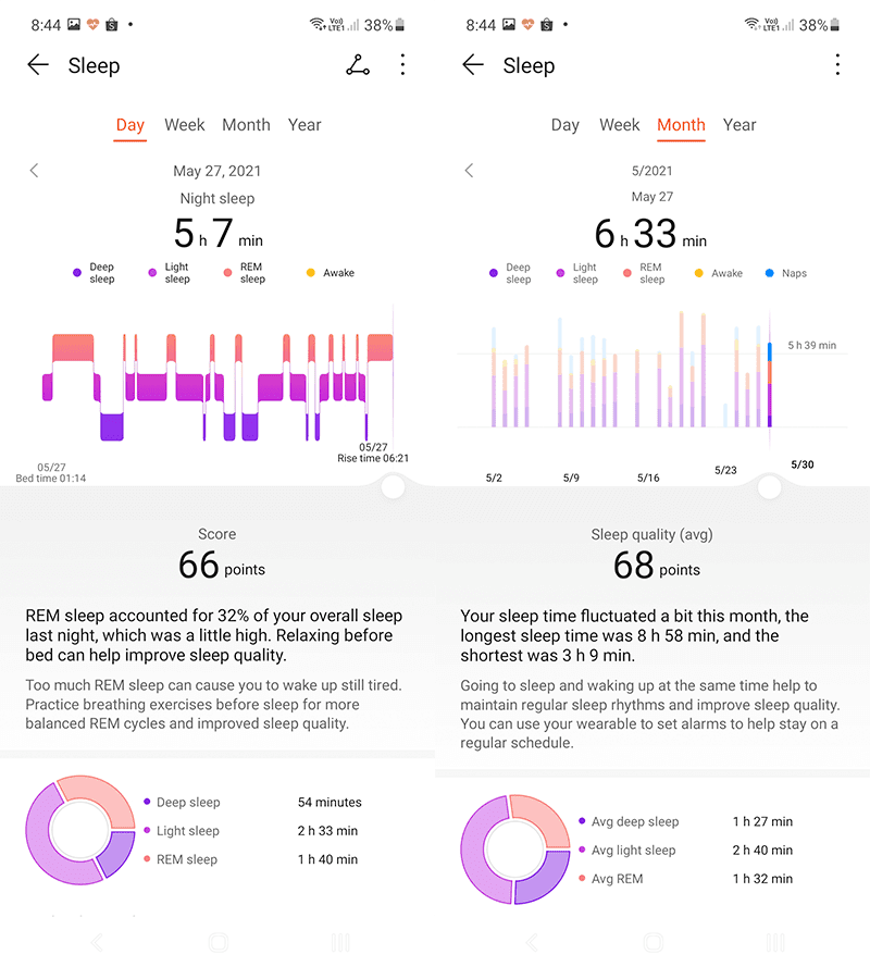 Sleep tracking pages