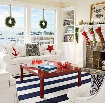 nautical Christmas living room