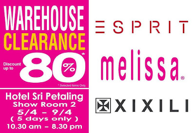 Esprit, Melissa & XIXILI Warehouse Sale @ Hotel Sri Petaling
