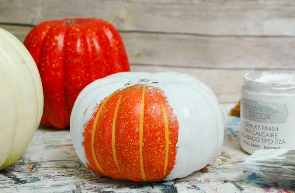Painting faux pumpkins with chalk paint