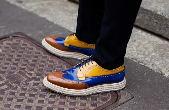 Mens Blue Brogue Shoes Size