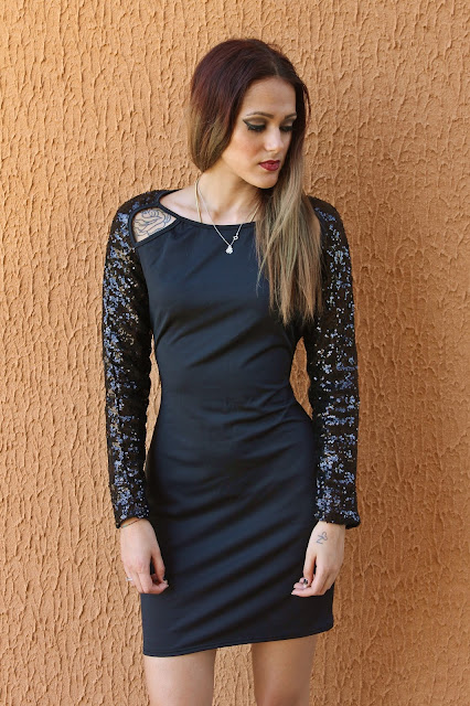 KC Fashion Point: Crossed Paillettes Black Dress