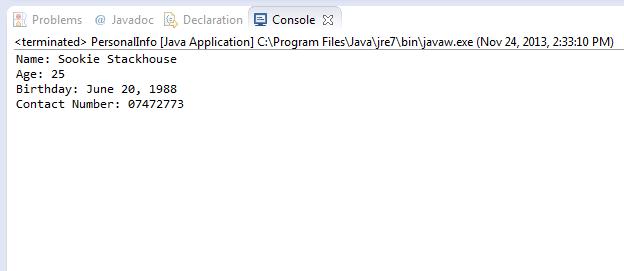 Simple Java Program 1: Display Personal Info | Java Program Examples