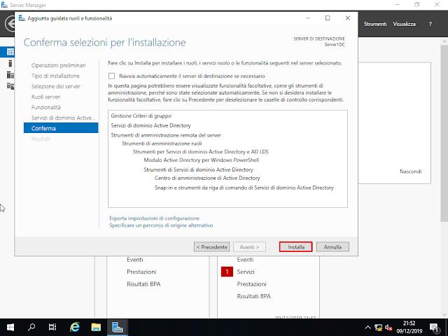 Windows Server 2019, Conferma selezioni per l'installazione