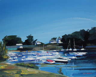 A painting of the sail boats at Newfane Marina, near Lake Ontario.
