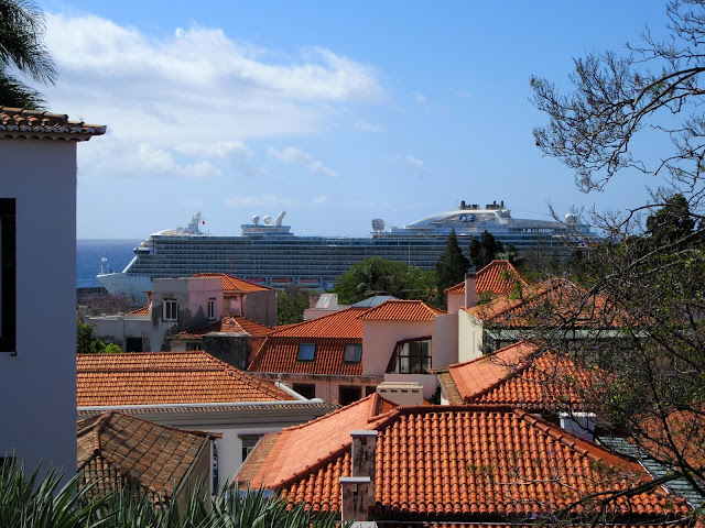 a cruise ship in the middle of roofs