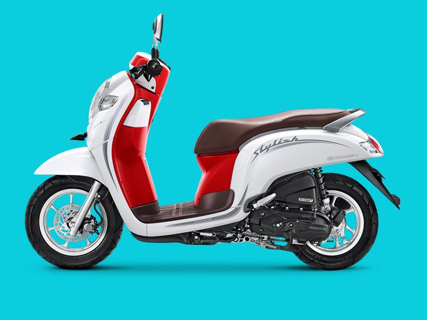 Honda Scoopy Stylish White Red Motor Unik Dan Fashionable