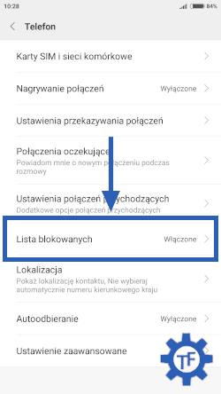 Ustawienia aplikacji telefon w Xiaomi