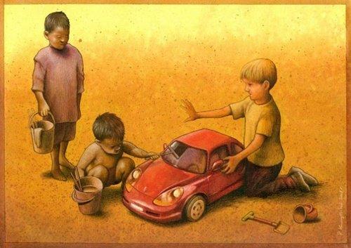 zengin fakir çocuk karikatür