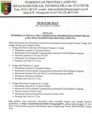 Info penerimaan Tenaga Ahli Tekhnologi Informasi dan Komunikasi di Dinas Kominfotik Provinsi Lampung