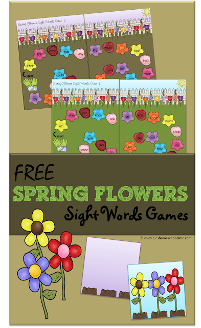 FREE Spring Flowers Sight Words Game - This is such a fun way for 1st grade kids to practice 1st grader dolch sight words. (homeschool, reading)