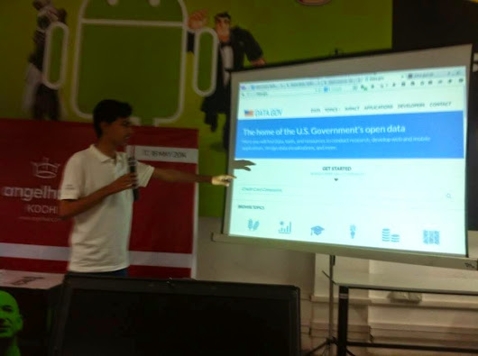 "A talk on ""Hacking with Open Data"" at AngelHack Kochi"