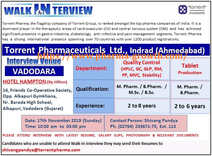 TORRENT PHARMA – Walk-In Interviews for Quality Control & Production on 17th Nov' 2019