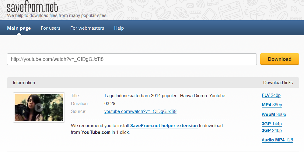 Cara Download Video Youtube ke FLV, MP4, WebM, 3Gp