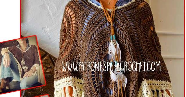 Cómo tejer Poncho Crochet con Cuadros Calados / Video Tutorial