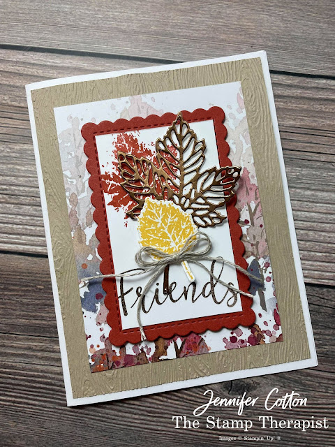 Fall Card: Stampin' Up! Gorgeous Leaves Bundle and Create with Friends set.  I alsu used the Timber Embossng Folder, Beauty of the Earth DSP, Brushed Metallic Cardstock, Scalloped Contours Dies, and more!  Supply List, Video, and Measurements on the blog!  #StampinUp #StampTherapist #GorgeousLeaves #CreateWithFriends