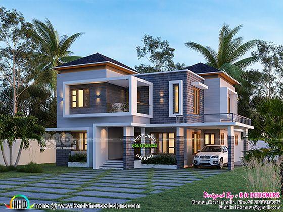 mixed roof 4 bedroom home rendering 3d