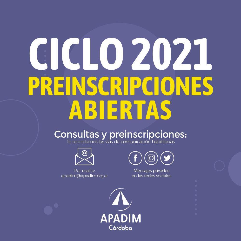 Ciclo 2021: Preinscripciones abiertas