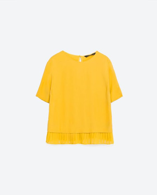 Spring/Summer Capsule Wardrobe: Five Tops for Play from Honey and Smoke Studio // Top with Pleated Hem in yellow from Zara