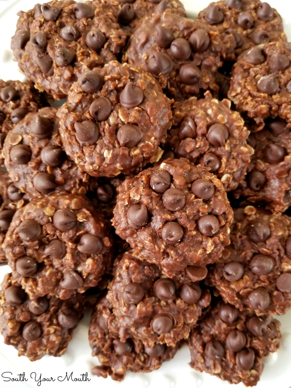 Triple Chocolate No-Bake Cookies! Classic no-bake peanut butter oatmeal cookies made with DOUBLE the cocoa and studded with chocolate chips for three times the chocolate goodness!