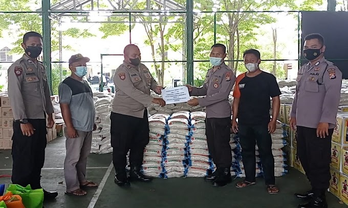 Polda Banten Terima Bantuan Beras Dari PT Cibaliung Sumber Daya