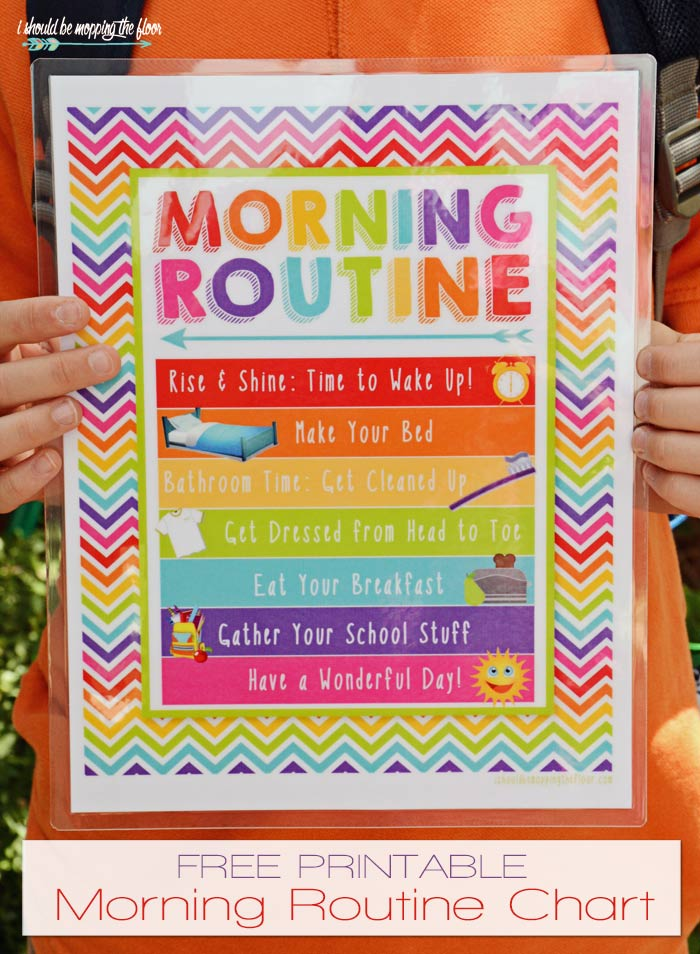 image about Morning Routine Printable titled Free of charge Early morning Timetable Printable i really should be mopping the flooring