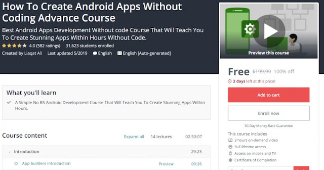 [100% Off] How To Create Android Apps Without Coding Advance Course| Worth 199,99$
