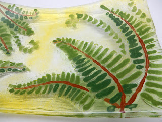 Close-up, completed fern platter