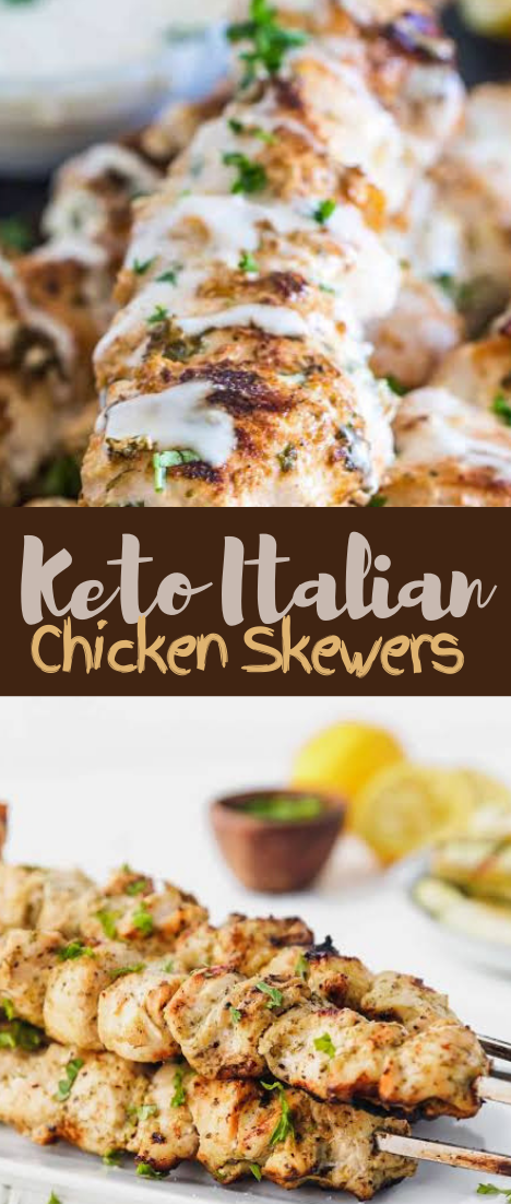 Keto Italian Chicken Skewers #healthyrecipe #dinnerhealthy #ketorecipe #diet #salad