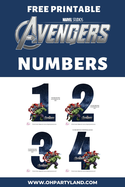 free printable avengers numbers