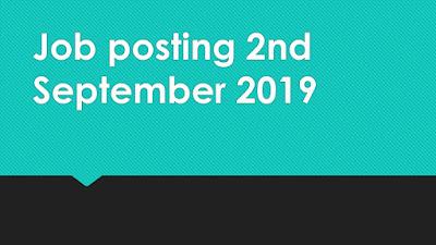 Freshers Jobs 2nd September 2019