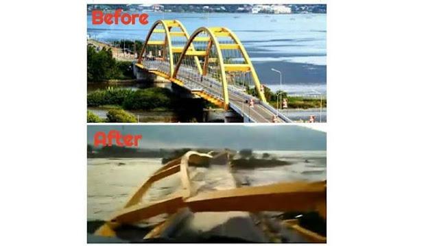 Diresmikan Era SBY, Jembatan Ikon Kota Palu Hancur Luluh Lantah Tak Kuasa Dihantam Gempa.....