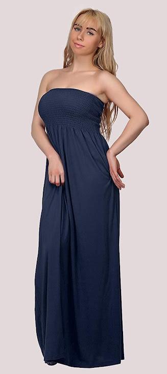 Good Quality Blue Strapless Maxi Dresses