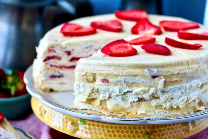 Strawberries and Cream Crepe Cake on a plate
