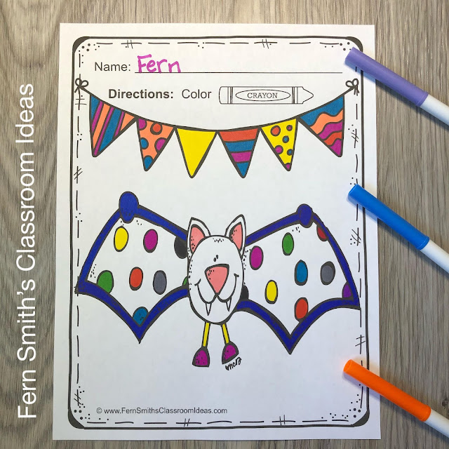 Bats and Spiders Coloring Pages - 36 Page Bats and Spiders Coloring Book #FernSmithsClassroomIdeas