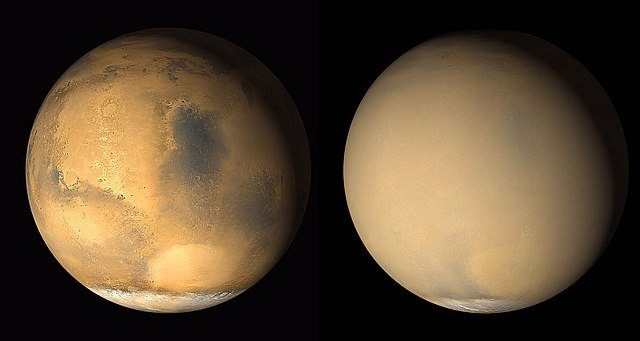 Mars Before/after martian dust storm