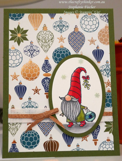 #thecraftythinker #christmascard #cardmaking #stampinup #gnomefortheholidays , Christmas card, Gnome For The Holidays, Brightly Gleaming paper, Stampin' Up Demonstrator, Stephanie Fischer, Sydney NSW